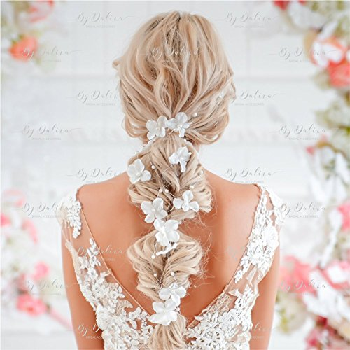 Wedding flower hair vine boho floral headband for girl headpiece handmade By Dalina