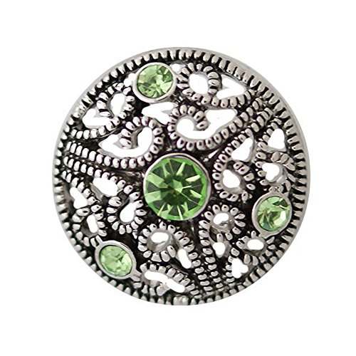 20mm Peridot Emerald - Chunk Snap Charm Peridot Green Crystals Metal Filigree 20mm