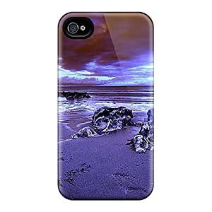 LuckyBecky Perfect Tpu Case For Iphone 4/4s/ Anti-scratch Protector Case (sea Coast Sunseting Blue)