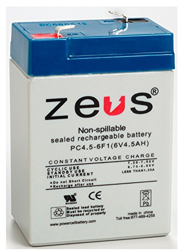 6V 4.5Ah ZEUS Battery Products PC4.5-6 PC4.5-6F1 SLA Emergency Light Battery - Replaces LC-R064R5P, PS-640, UB645, NP4.5-6