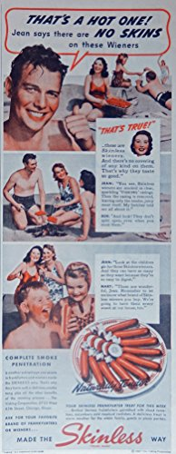 skinless-wieners-color-illustration-picnic-on-beach-original-vintage-1940-the-saturday-evening-post-