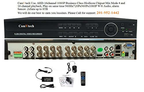 Camvtech Usa AHD 16 Channel 1080P Business Class Hisilicon Chipset Mix mode viewing 960Hx720Px960Px1080PxIPC-CVI/TVI, 2sata up 12Tb, Ptz, Cloud, P2P, Mobile Phone, Motion Detect