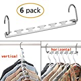 CBTONE 6 Pack Closet Space Saving Hangers, Multi-Purpose Metal Magic Hangers Cascading Hanger Updated Hook Design Metal Wonder Hangers for Organizing Wardrobe Clothing Hanger