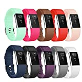 #10: POY Compatible Fitbit Charge 2 Bands, Classic & Special Edition Replacement bands Compatible Fitbit Charge 2, Large Black, 1PC