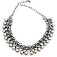 athizay Oxidised Silver Black Silver Plated Metal Antique Tribal Necklace for Women