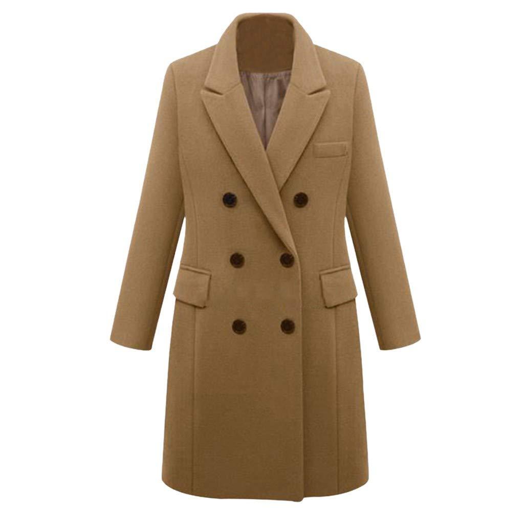 Womens Double Breasted Pea Coat Winter Lapel Wool Trench Jacket Slim Long Solid Parka Outwear Windbreak Plus Size Khaki by sheart 9
