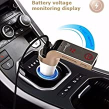 In-Car Charger, ELEGIANT Bluetooth Handsfree Call FM Adapter Transmitter Music Player Car Kit USB Voltage Display Smart Port for Tablet iPhone 7 6, Note 7 5 4,LG G5 G4,HTC,Nexus, iPads Pro, Motorola,