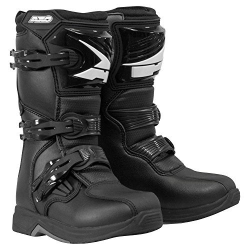 Motocross Riding Boots (AXO unisex-child Drone Youth Boots (Black, Size 3))