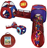 Toys : Playz 4pc Pop Up Children Play Tent w/ 2 Crawl Tunnel & 2 Tents - Kids Tents for Boys, Girls, Babies & Toddlers for Indoor & Outdoor - Large Children Playhouse Ball Pit w/ Storage Case