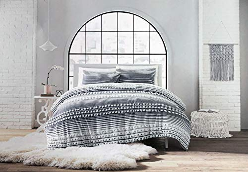 Artistic Accents 3pc Duvet Cover Set Gray White Horizontal Stripes with Tassels Tufts - Brookline, Gray (Full/Queen)