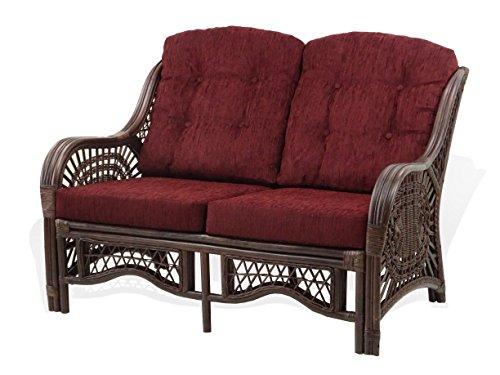 Malibu Lounge Loveseat Sofa Natural Rattan Wicker Handmade Design Dark Brown Cushions, Dark Brown (Sofa Natural Garden Rattan)
