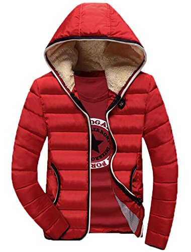 Winter Down XS Fur Coat Jackets Slim EKU Red Fit US Hood Men's Lining Cw1qxaF