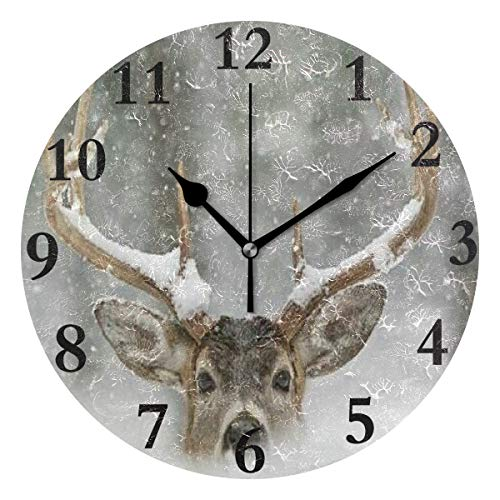 FunnyCustom Round Wall Clock Deer Snow Animals Winter Acrylic Creative Decorative for Living Room/Kitchen/Bedroom/Family