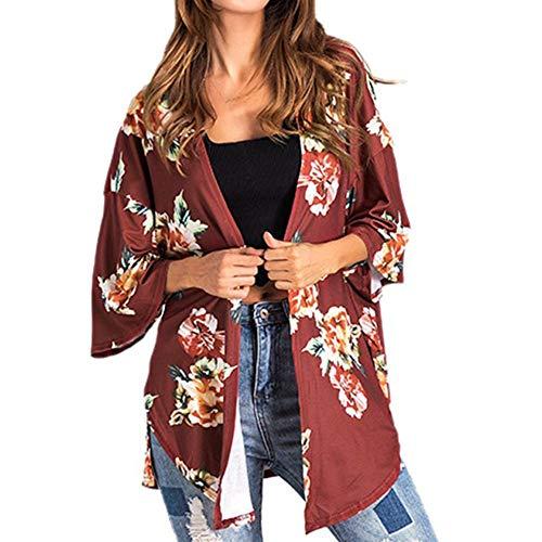 - Willow S Women Fashion Casual Chiffon Shawl Floral Print 3/4Sleeve Kimono Cardigan Top Cover Up Loose Blouse Beachwear Red