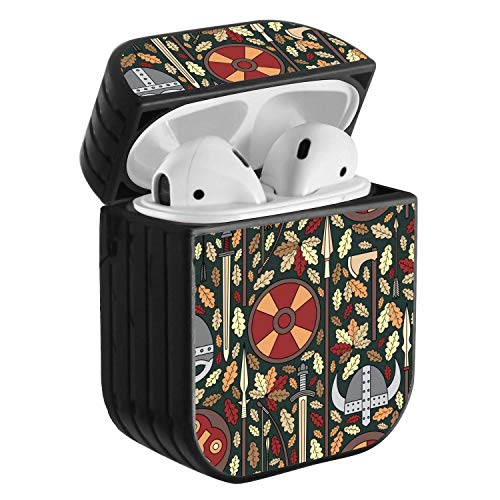 Compatible with Airpods 2 & 1, Shockproof Portable Protective Hard Cover Case with Neck Lanyard Strap - Viking Pattern with Helmet, Sword, Spear and Shield