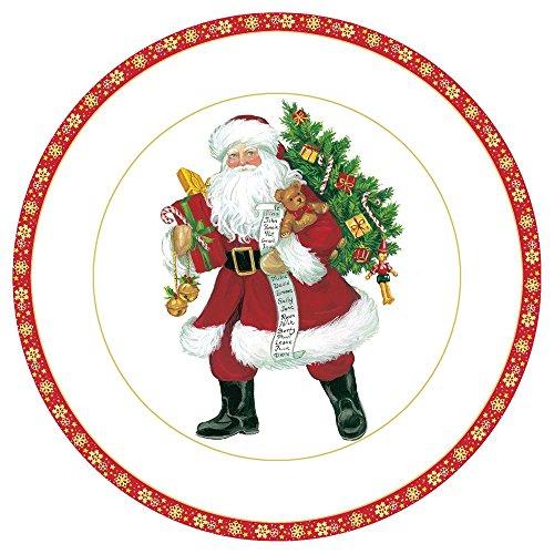 Entertaining with Caspari Lynn Haney Santa Salad/Dessert Plates, Red, Pack of 8