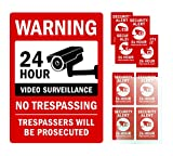 Kubik Letters Video Surveillance Sign Complete Pack: Warning 24 Hour No Trespassing, 4 mm (160 mil) Thick Aluminum Composite Panel with Reflective Vinyl + 8 Pack Vinyl Decal Included