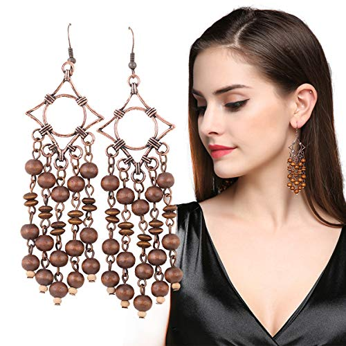 Trendy Wholesale Costumes Jewelry Company - Long Wooden Tassel Earrings EVBEA Antique