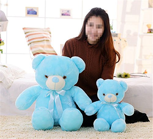 2017 LED Flash Teddy Bear Stuffed Animals Plush Soft Hug Toy Baby Kids Gift New (80CM, blue)