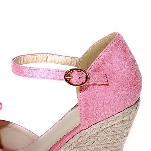 Imitated Heels Solid Womens AmoonyFashion Pink Buckle Toe Suede High Open Sandals qAHwIA7