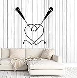 Vinyl Wall Decal Karaoke Bar Decor Microphones Duet Heart Symbol Stickers Large Decor (2884ig) Black