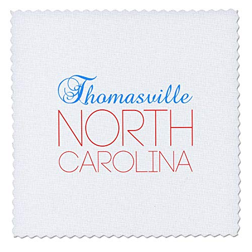 3dRose Alexis Design - American Cities North Carolina - Thomasville, North Carolina, red, Blue Text. Patriotic Home Town Gift - 12x12 inch Quilt Square -
