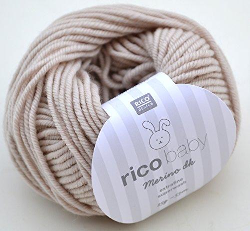 Rico Baby Merino dk 002-beige Babywolle Merinowolle extrafine superwash Wolle zum Babysachen stricken & häkeln