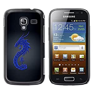 Be Good Phone Accessory // Dura Cáscara cubierta Protectora Caso Carcasa Funda de Protección para Samsung Galaxy Ace 2 I8160 Ace II X S7560M // Tribal Blue Dragon