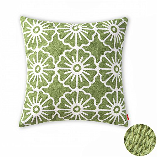 Green Floral Bolster Pillow (baibu Cotton Decor Cushion Cover Embroidery Design Floral Pillow Cover)