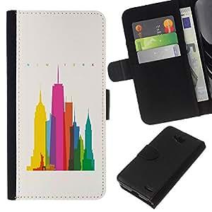 iBinBang / Flip Funda de Cuero Case Cover - Ciudad colorida Art Rascacielos Poli Arte - LG OPTIMUS L90