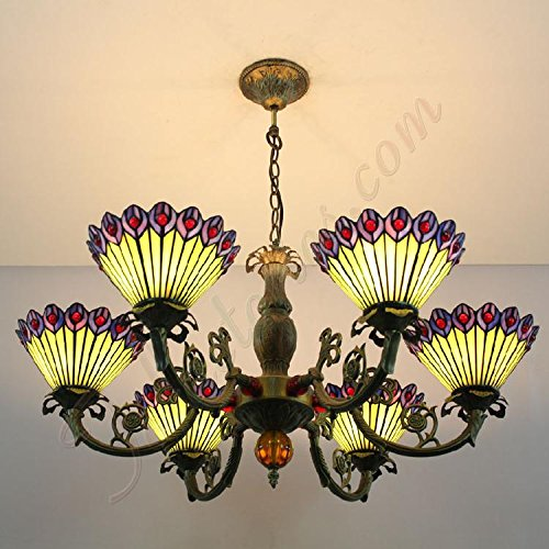 ETERN Yellow And Purple Peacock Feather Glass Lamps Creative Chandeliers Pendant Light With 6 Lights