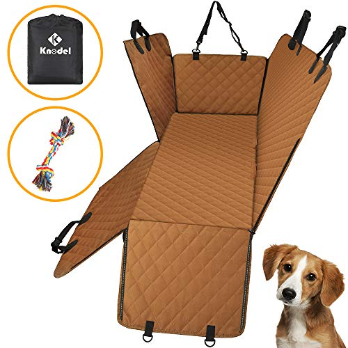 Knodel Dog Seat Cover, 100% Waterproof Car Seat Cover for Pets, Pet Seat Cover Dog Hammock, 600D Heavy Duty Scratch Proof Pet Back Seat Covers, Zippered Side Flaps for Cars, Trucks and SUVs (Brown)