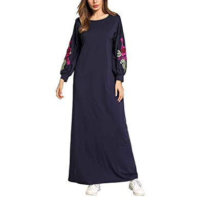 710542b9673 Floral Embroidered Maxi Mid-East Muslim Long Sleeve Loose Tunic T-Shirt  Dress (