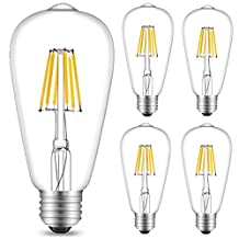 INNOCCY Edison Led Bulb Vintage Filament Bulb 4500k- E26/E27 -6W -ST64 Dimmable-4 Pack