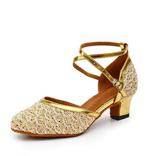 Misu Womens Closed Toe Suede Sole Latin Salsa Tango Practice Ballroom Dance Shoes With 2.0 Heel