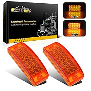 Partsam 2pcs Amber Led Rectangle Tail Stop Marker Light Trailer Truck Rv 3 Wires 21led