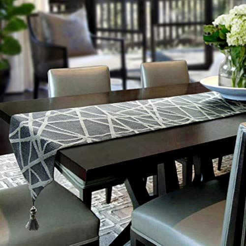 Artbisons Table Runner Grey Geometry 95x13 Thickly Modern Handmade -