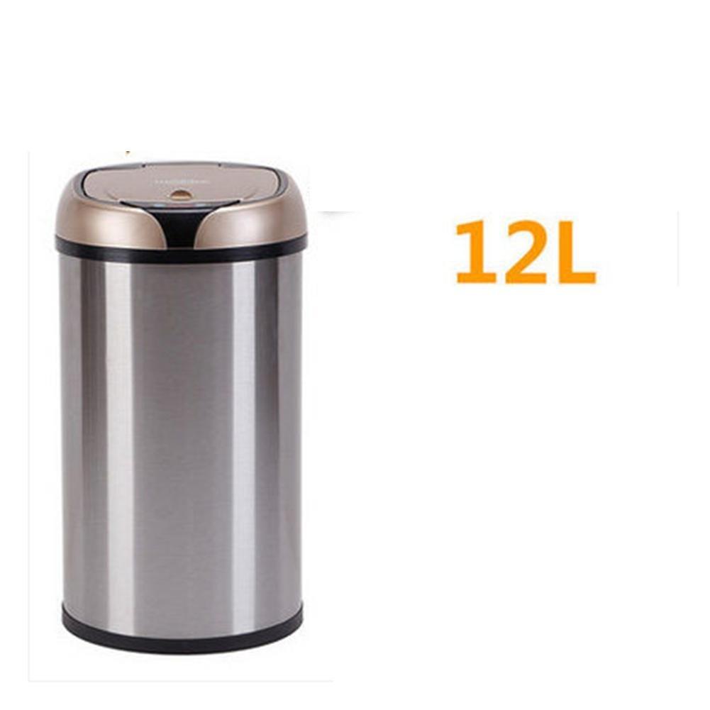 自動ごみ箱ゴミ箱ごみ廃棄物ビンでき蓋キッチンステンレス製屋内ラウンドタッチレス | モーションセンサー | 27 cm × 24 cm 、 36 cm × 24 cm 、 45 cm × 24 cm | シャンパン、赤、白、グリーン、シルバー、シルバー、 12 リットル B07BXVKHMK