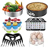 Pressure Cooker Accessories Set Compatible with Instant Pot 6,8 Qt and Ninja Pressure Cookers, 11pcs-Steamer Basket, Cake Pan, 2 Egg Rack Trivet,2 Egg Bites Mold, 2 Meat Claw, 3 Magnetic Cheat Sheet