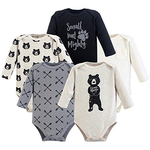 Yoga Sprout Unisex Baby Cotton Bodysuits, Bear Hugs Long Sleeve 5 Pack, 3-6 Months (6M)