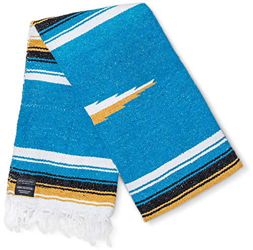 (Falsa Blanket Mexican Blanket: Artisan Thick Premium Diamond Mexican Blankets Camping Blanket Authentic Handwoven Yoga Blanket and Throws Woven Blanket Yoga Bolster Serape Blanket, Aqua/Yellow/Blue)