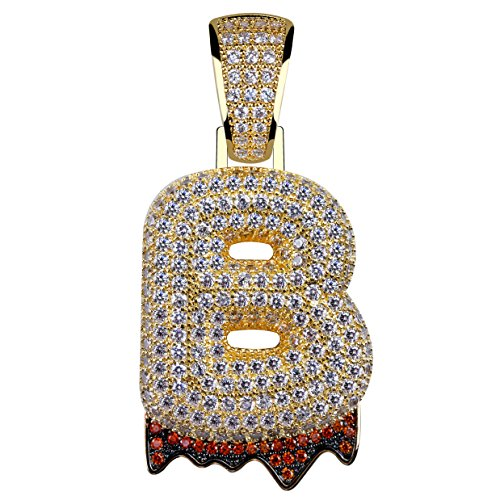 HECHUANG Micropave Simulated Diamond Iced Out Bling Custom Bubble Letters Dripping Initial Pendant with Rope Chain (B Gold, 24)]()