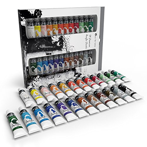 Castle Art Supplies Acrylic Paint Set for Beginners, Students or Artists, 12 ml Tube, Set of 24 Vivid Unique -