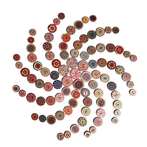 S-Mechanic 500 Stück Bunte Knöpfe, Retro Bastelknöpfe Multicolor Gemischte DIY Basteln Rund Kinderknöpfe Puppenknöpfe mit 2 Löcher zum Nähen, Handwerk, Malerei, DIY Basteln, Deko - 15, 20, 25mm
