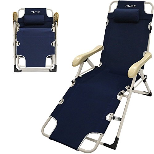 YOLER Independent Patent Folding Lounge Chair   Adjustable Arm / Back /  Foot Positions   Sturdy Breathable Fabric   Best Portable Recliner Lounge