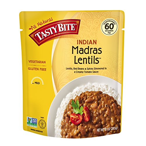 : Tasty Bite Indian Entree Madras Lentils 10 Ounce (Pack of 6), Fully Cooked Indian Entrée with Lentils Red Beans & Spices in a Creamy Tomato Sauce, Microwaveable, Ready to Eat