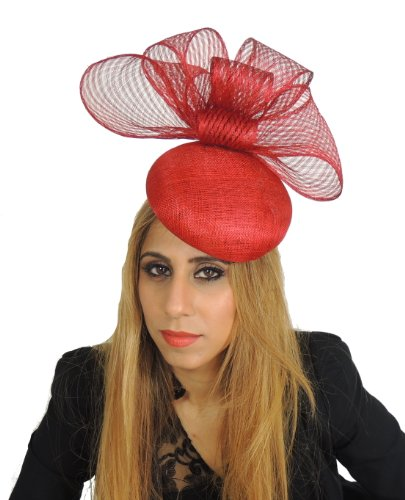 Beautiful Tulip Ascot/Derby Fascinator Hat With Gorgeous Sinamay Bow on a Headband - Black by Hats By Cressida