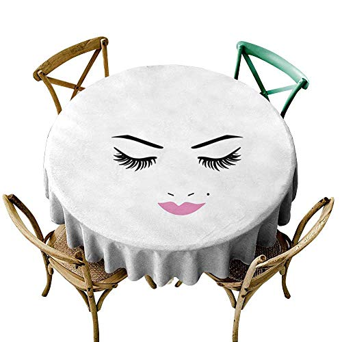 cobeDecor Eyelash Elegant Waterproof Spillproof Polyester Fabric Table Cover Closed Eyes Pink Lipstick Glamor Makeup Cosmetics Beauty Feminine Design D36 Fuchsia Black White ()