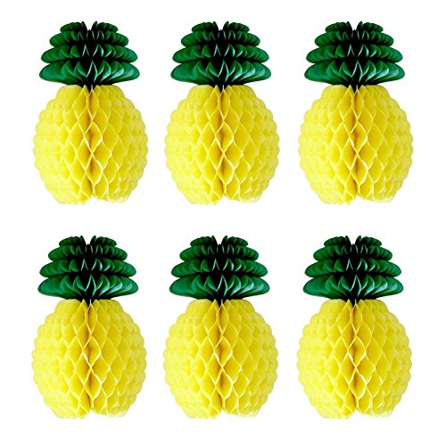 SUNBEAUTY Pack of 6 Tissue Paper Pineapple Honeycombs Decoration Luau Party or Hawaiian Theme -