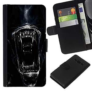 All Phone Most Case / Oferta Especial Cáscara Funda de cuero Monedero Cubierta de proteccion Caso / Wallet Case for Samsung Galaxy A3 // Alien Face Close Up